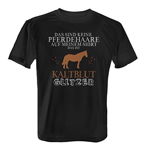 Fashionalarm Herren T-Shirt - Das sind keine Pferdehaare - Kaltblut Glitzer | Fun Shirt Spruch lustige Geschenk Idee Rasse Pferd Reiten Reitsport, Farbe:schwarz;Größe:L -