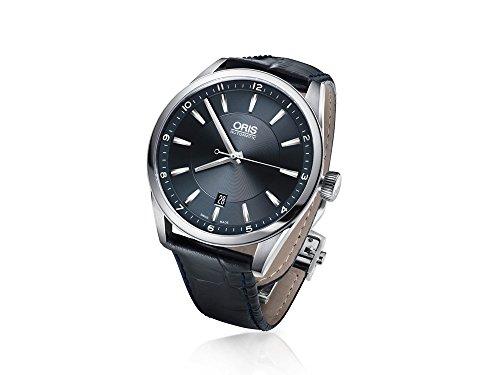 Oris Artix Date Automatik Uhr, Oris 733, Blau, Lederband, 733 7642 4035