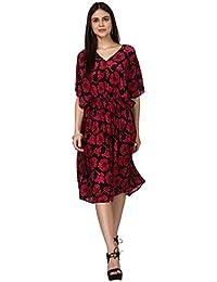 Ritu Kumar Label Women's Crepe A-Line Dress (KAFVMCR00N16530608_Red_L)