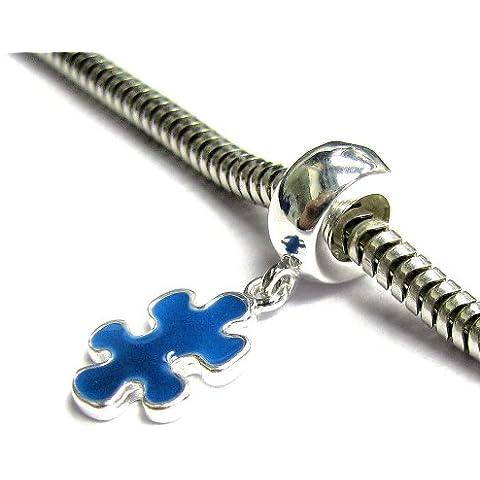 Argento Sterling 925autismo consapevolezza Puzzle Game piece smalto blu per braccialetti Charm per braccialetti