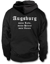 shirtloge - AUGSBURG - Meine Liebe, meine Heimat, mein Verein - Fan Kapuzenpullover - Größe S - 3XL