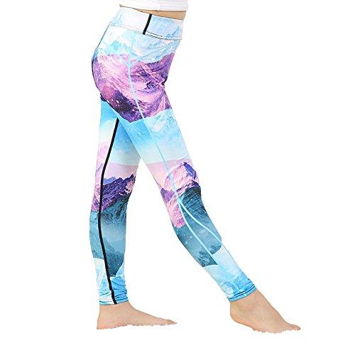 Yying Mädchen Yoga Hosen Bodybuilding Komfortable Jugend Leggings Wald Blume Floral Kinder Skinny Sporthose 97005 S -