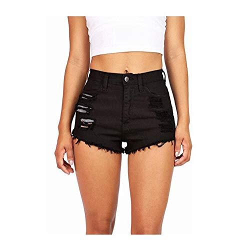 Damen Sommer hohe Taille Denim Quaste zerrissene Loch dünne gerade Kurze Jeans Hot Pants,Black,XS