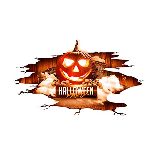 Kongnijiwa Abziehbilder 3D Letter Kürbis Boden Wand-Kunst-Aufkleber Halloween entfernbare PVC-Wand-Tattoo-Abziehbilder Wohnzimmer Tapete