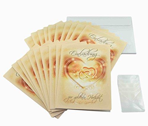 Preisvergleich Produktbild Goldhochzeit Einladungen im Set. 50 Jahre verheiratet und goldene Hochzeit feiern und dazu einladen mit 20 x Einladungskarten, 20 weiße Umschläge und je 20 Fotoecken, ggf. mit Foto selbstgestalten (20 Stück, Einladungskarten)