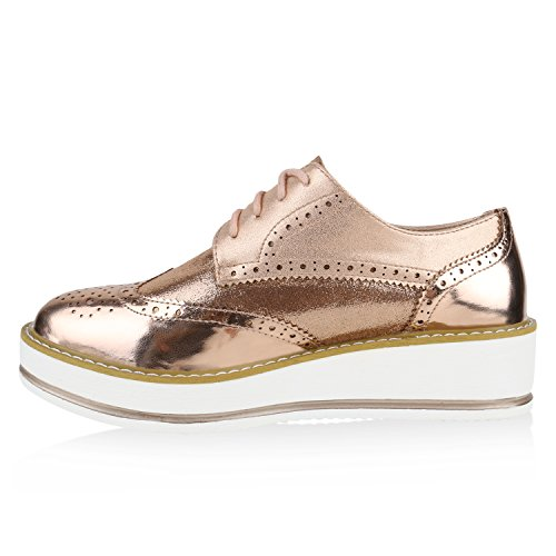 Damen Halbschuhe Dandy Style Brogues Profilsohle High Fashion Rose Gold Lack