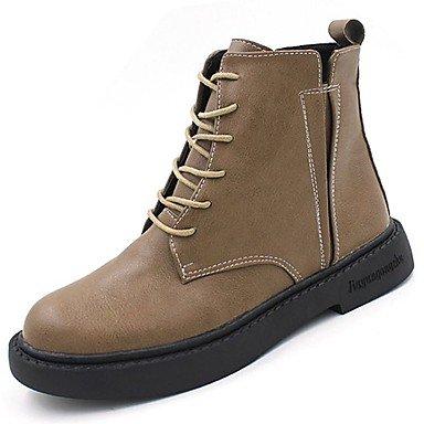RTRY Scarpe Donna Pu Inverno Comfort Moda Stivali Stivali Chunky Tallone Punta Tonda Lace-Up Per Casual Kaki Nero US6.5-7 / EU37 / UK4.5-5 / CN37