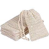 Goldoars Sisal Soap Bag Exfoliating Soap Bag Natural Soap Bag Pouch Soap Bag Shower Bath Soap Bag Sack With Drawstring For Bathing and Washing,5 Pcs