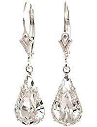 pewterhooter 925 Sterling Silver lever back earrings expertly made with teardrop diamond white crystal from SWAROVSKI® for Women