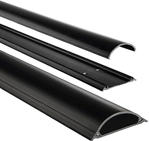 Hama Conduit de Câbles (semi-circulaire, auto-adhésif, 100 x 7 x 2,1 cm, jusqu'à 8 Câbles) Noir