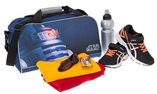 STAR WARS by Fabrizio Sporttasche Kindersporttasche Tasche (Sporttasche R2D2 Blau + Flasche) Sporttasche R2D2 + Flasche