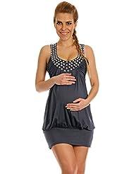 Happy Mama Femme maternité jolie la robe ballon de grossesse sans manches 024p