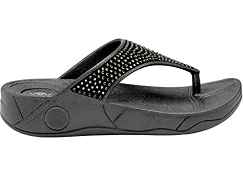Ladies DLP506 Dunlop Low Wedge Fit Flip Flop Toe Post Crystal Sandals Shoes Size 3-8 (UK 6, Black)