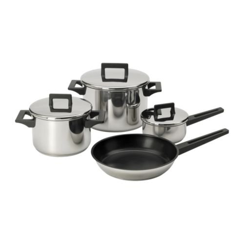 IKEA SNITSIG - 7-piece cookware set, stainless steel