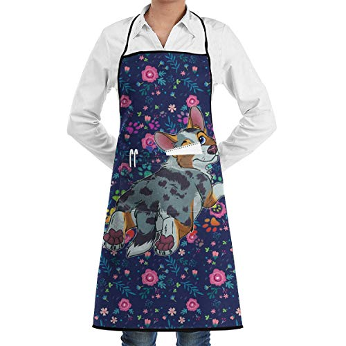 Bib Apron with 2 Pockets Galaxy Corgi Extra Long Ties Küchenschürzen for Women and Men, Resistant to Droplets personalized aprons - Bib Womens Top