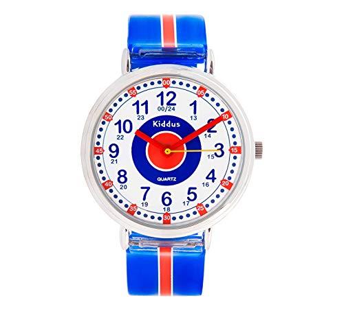 KIDDUS Lern Armbanduhr für Kinder, Jungen und Mädchen. Analoge Armbanduhr mit Zeitlernübungen, japanischen Quarzwerk, gut lesbar, um ganz leicht zu Lernen, die Uhr zu lesen. RE0276 Blau Rot -