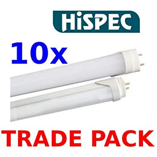 10x Hispec 5ft Single Ended 25w = 58w Low Energy Saving LED T8 Tube Fluorescent Lamp Replacement Day Light 1500mm