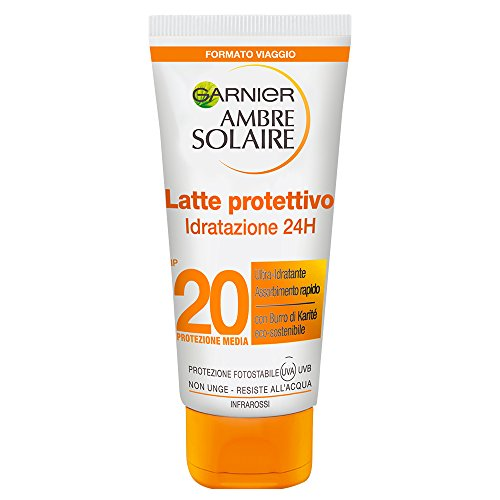 Garnier ambre solaire crema solare, latte protettivo ultra-pratico, protezione media ip20, idratazione 24h*, 50 ml