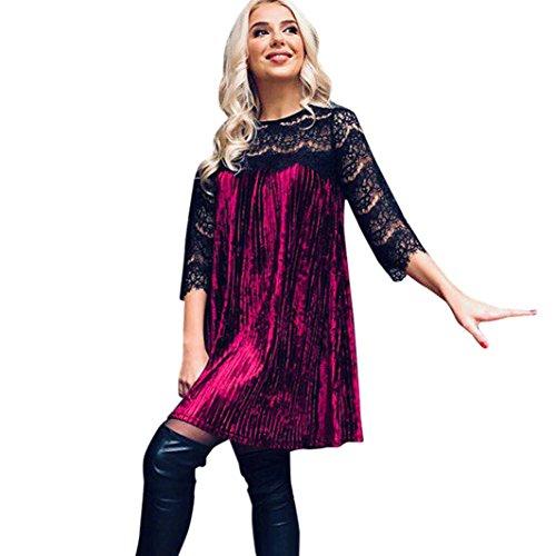 Rcool Damen Lace Victorian Gothic Renaissance Korsett Kleider Bluse Women's Nightclubs Blouse Clubwear Dress (Weinrot, S/37) (Victorian Lace Brautkleid)