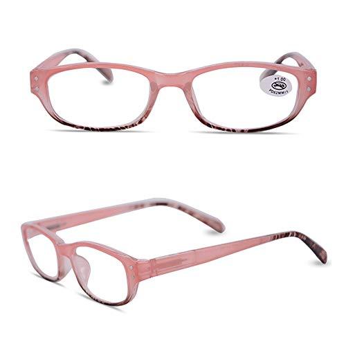 VEVESMUNDO Lesebrille Damen Herren Mode Federscharnier Lesehilfe Sehhilfe Augenoptik Holzrahmen Türkis Lila Rosa Blau Braun (Rosa, 2.0)
