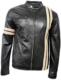 Controlador de para hombre negro tipo libro con función de 5311 Beige diseño de rayas de Carreras piel de cordero con una chaqueta de cuero para moto