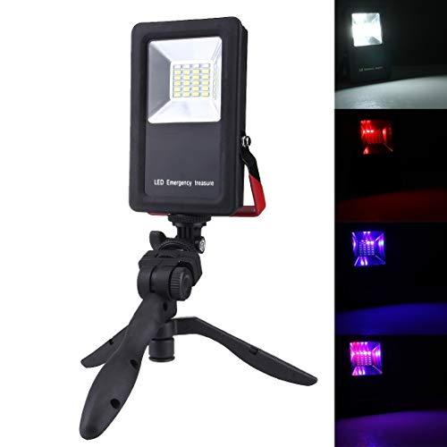 SMD5730 2400LM 6000-6500K IP65 wasserdichtes rotes und blaues Licht blinkendes Warnlicht USB, das tragbaren Scheinwerfer mit Lampenfassung lädt Stabil ()