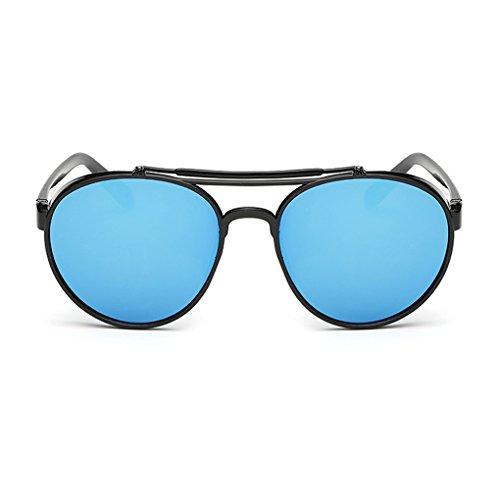 QHGstore Unisex Moda Aviator Occhiali da sole retrš° colorata PC Colore della struttura Film UV400 Sun occhiali blu