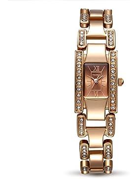 TIME100 Damen-Armbanduhr Diamant Skelett Square Analog Quarz Edelstahl #W50159L.03A