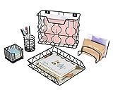 Generic - Set di organizer da scrivania 5 in 1, con porta lettere, portamatite, porta appunti e vassoio da scrivania Nero