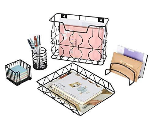 Generic 5-in-1 Schreibtisch-Organizer Set - Briefsortierung, Stiftehalter, Notizhalter, Hängemappen, Organizer und Schreibtischablage Schwarz -