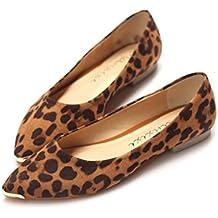 JSHOE Mujer Moda Zapatos Planos De Leopardo Zapatillas De Ballet,LeopardColor-35EU