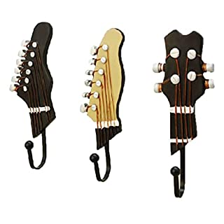 Advogue 3 Stück Gitarre Geformt Metall Wand Haken Garderobe Vintage Ornamente Handtuch Coat Wandhalter Kleiderbügel Haken