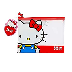 Hello Kitty Essential – Estuche para lápices, PVC transparente, diseño doble