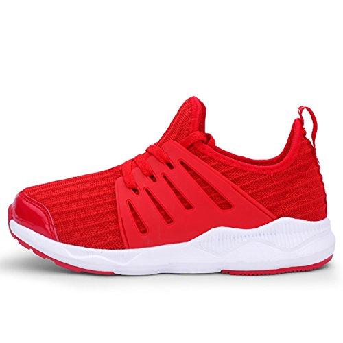 tqgold Unisex-Bambini Scarpe da Ginnastica Running Sportive Interior all'Aperto Tennis Basse Sneakers per Ragazzi Ragazze(Rosso,39 EU)