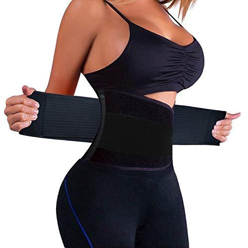 LiGG LiGG Bauchweggürtel Verstellbarer Bauchgürtel Schwitzgürtel Taille Trimmer Gürtel Fitnessgürtel zum Abnehmen und Muskelaufbau für Herren und Damen, Schwarz, M