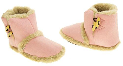 Donna Dispositivi di raffreddamento caldo faux inverno pelliccia foderata stivali ginocchiera pantofola Lt rosa