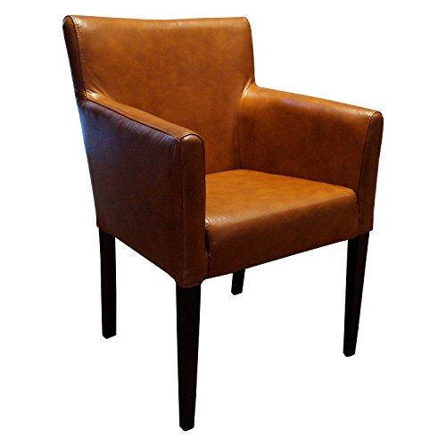 Breite Echtleder Esszimmerstühle mit Armlehnen Kross Arm Stuhl Sessel Echt Leder stühle Lederstühle