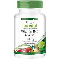 Vitamin B3 Niacin 100mg - GROSSPACKUNG für 8 Monate - VEGAN - HOCHDOSIERT - 250 Tabletten - Nicotinamid