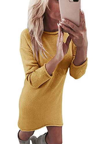 Yidarton Robe Pull Femme Manches Longues Robe d'Hiver en Tricot Elegant (Jaune, S)