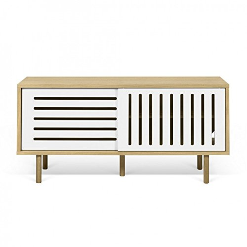 Paris Prix - Temahome - Meuble TV Design dann Stripes 135cm Chêne & Blanc