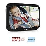 Vetomile - Rücksitzspiegel für Babys Kinder Auto Rückspiegel ( 30 x 19 x 3.5 cm, verstellbarer Sicherheitsgurt, mit freiem Reinigungstuch für Kinder in Kinderschale, Kindersitz, Babysitz )