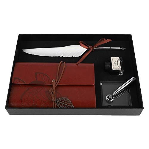 Descripción: Esta es una caja de regalo de papelería, que consta de una libreta, un bolígrafo de pluma y una botella de tinta, que satisfacen sus múltiples necesidades de escritura. Hecho de pluma natural, cómodo para sostener. Elegantes, antiguos y...