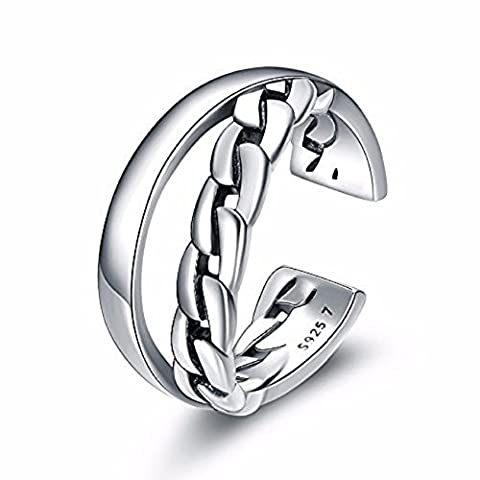 TARDOO 925 Sterling Silber Kubik Ringe Damen verstellbare Kette Einfache Elegant Persönlichkeit Mode Frauen Schmuck