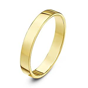 Theia Unisex Heavy Flat Court Shape Polished 9 ct Yellow Gold Wedding Ring, 3 mm - Size H