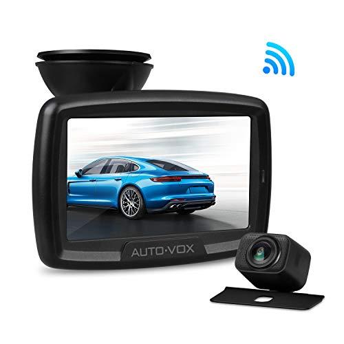AUTO-VOX Digital Wireless Backup Kamera-Kit, Rückfahrkamera drahtlos CS2, IP68 Wasserdicht Rückfahrkamera 11cm Monitor, Nachtsicht Rückseite Funk Auto-Kamera, interne Antenne, einfache Installation -