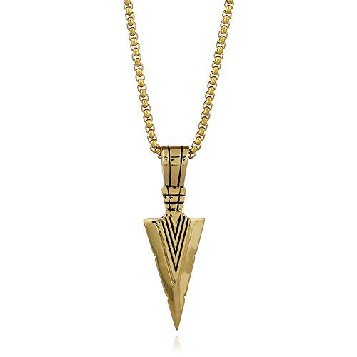 Chiconon Herren Anhänger Gold Dreieck Design mit Anhänger 1.8*5.5cm Und Kettenlänge 68cm aus Metallegierung + Plattiert Golden Jungen Halskette