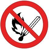 Intratec segno di divieto fuoco, luce aperta e fumo vietato scudo di sicurezza proibito 200 mm in PVC non autoadesivo.