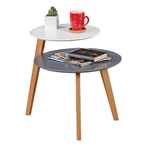 Wohnling rétro Table Basse scandinave avec 2 étagères Blanc Design Gris Table d'appoint Bois 61 x 61 x 56 cm | Salon de Table en Bois laqué Mat
