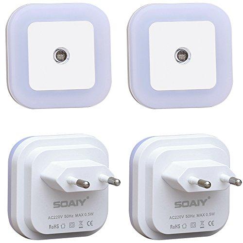[Warmweiß] SOAIY 4er-Set LED Nachtlicht 0,2W energiesparend Steckdosenlicht Orientierungslicht mit Dämmerungssensor Warmweiß automatisch Leuchte für Schlafzimmer Kinderzimmer Flur 2800K