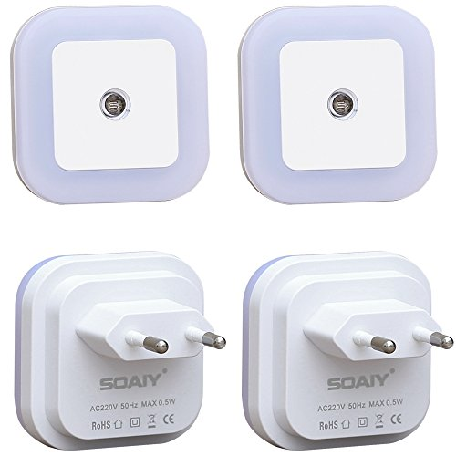 [Warmweiß] SOAIY® 4er-Set LED Nachtlicht 0,5W energiesparend Steckdosenlicht Orientierungslicht mit Dämmerungssensor Warmweiß automatisch Leuchte für Schlafzimmer Kinderzimmer Flur